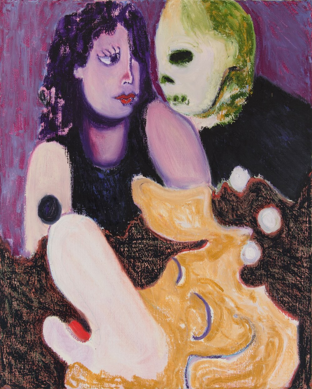 """The Dog's Dream (Death and the Lady), oil and wax on canvas, 16"""" x 20"""", 2017"""