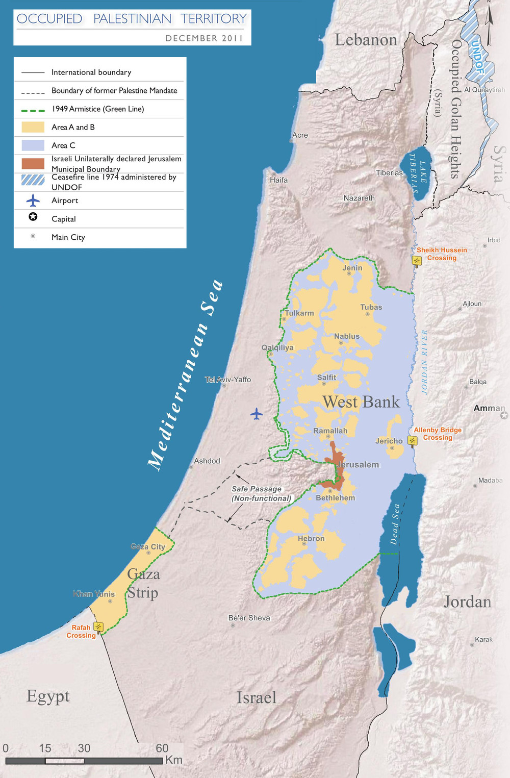 Israel and Palestine borders- Gaza and West Bank are Palestinian Territory