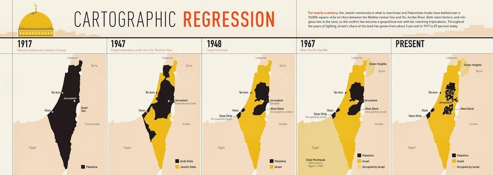 Yellow is Israeli land, black is Palestinian land. Click to view larger image