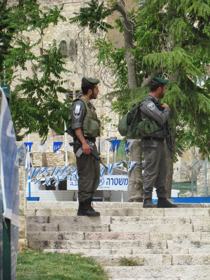 Military presence in Hebron while we were there. May 5, 2014. Photo credit Leah Ntuala.