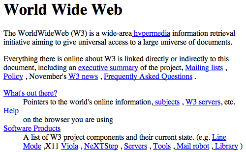One of the first web pages, explaining the World Wide Web