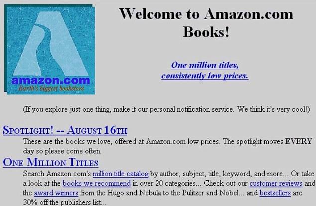 Amazon's original homepage in 1995