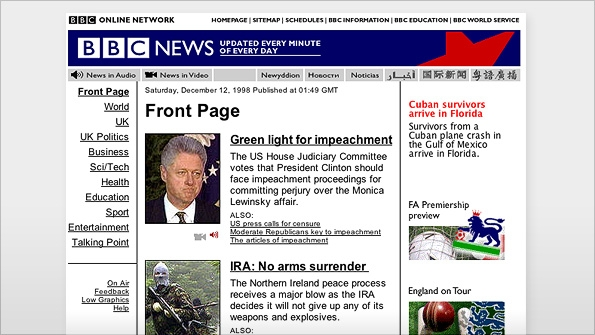 "BBC homepage in 1998 covering Bill Clinton's ""Monicagate"" scandal"