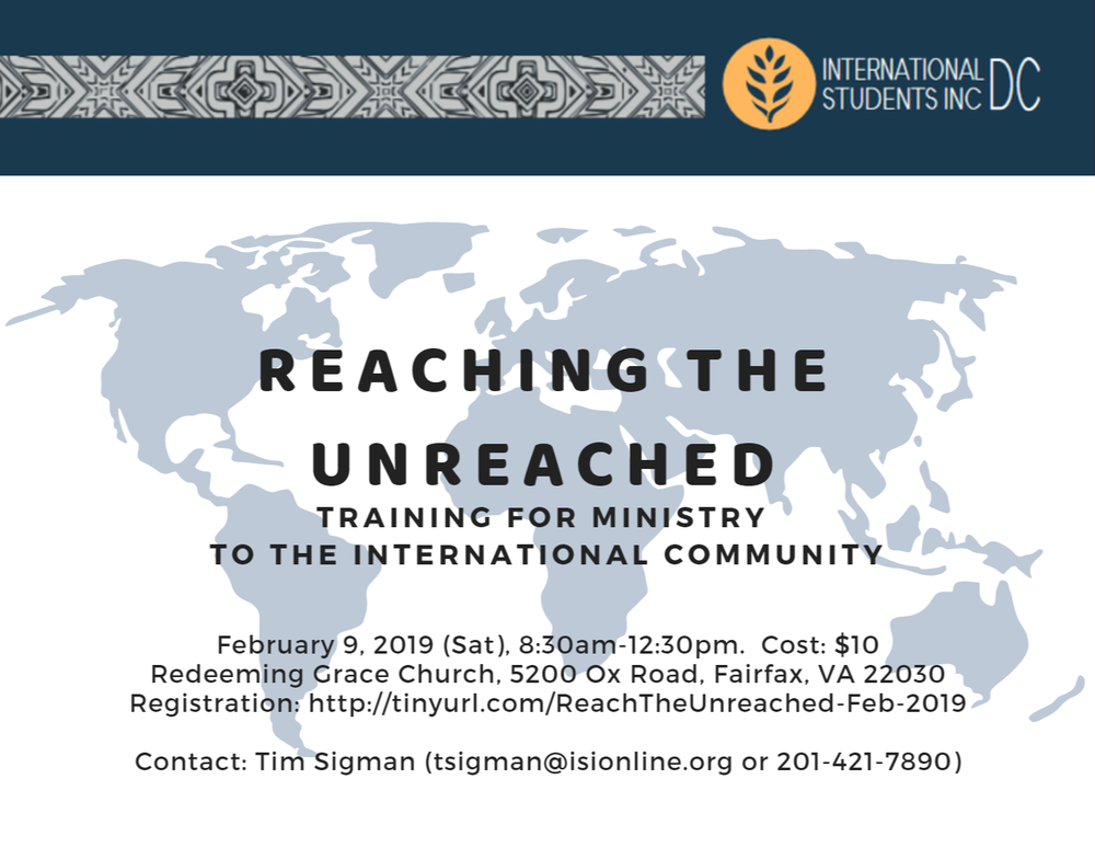 Find more information and register at  http://tinyurl.com/ReachTheUnreached-Feb-2019