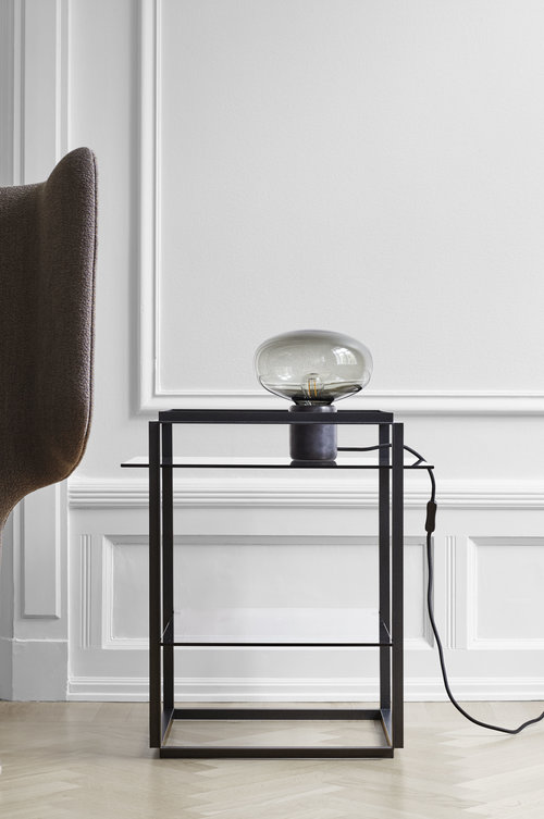 Karl johan table lamp black marquina w smoked glass