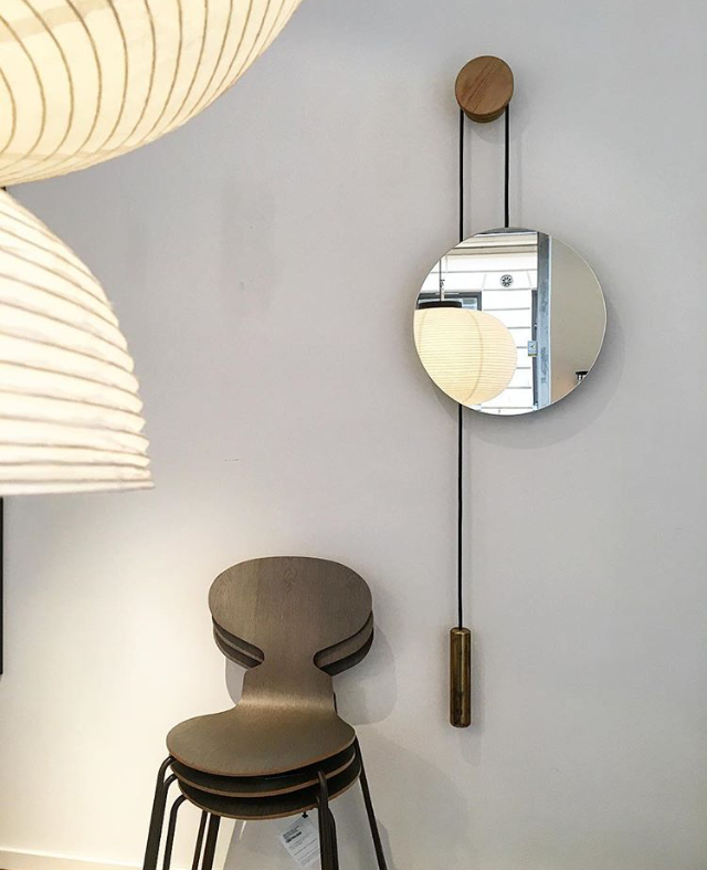 Rise & Shine Wall Mirror - Burned Oak w. Steel Weight // Photo by Olssongerthel.se