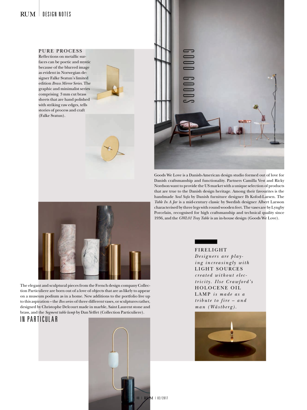 RUM International 2nd edition - Five Floor Lamp in Design Notes.