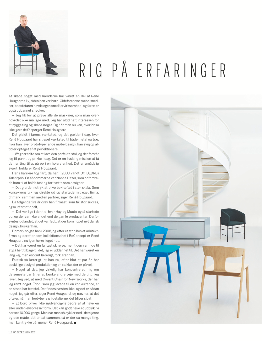 An article in Bo Bedre about ARDE the designer of Covent Chair.
