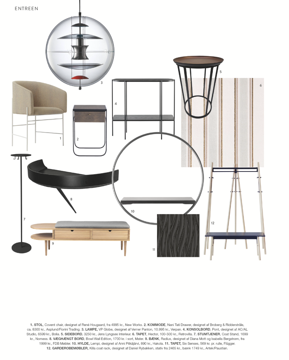 Covent Chair in Costume Living's mood board for the entrance hall