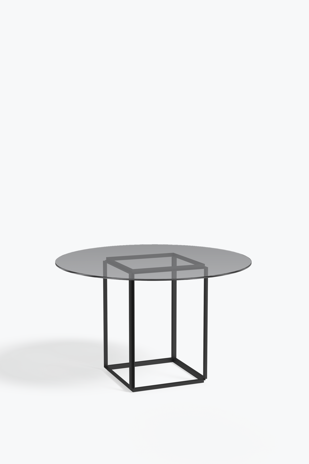 Florence dining table ø 120 cm iron black frame w smoked glass table top
