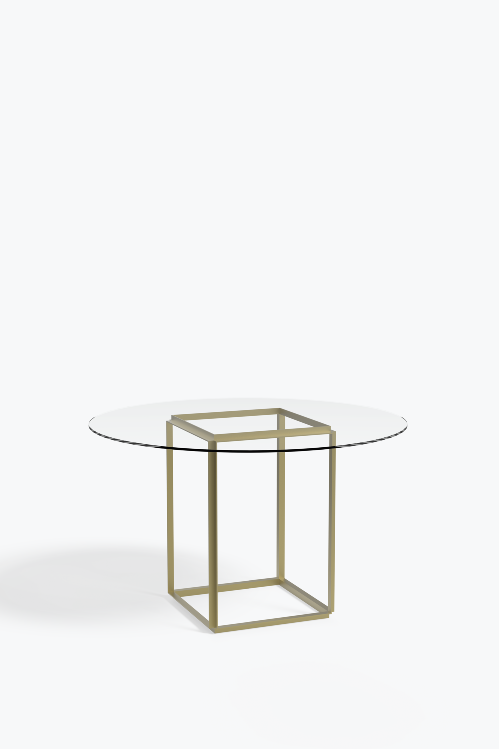 Florence dining table ø 120 cm raw gold frame w clear glass table top