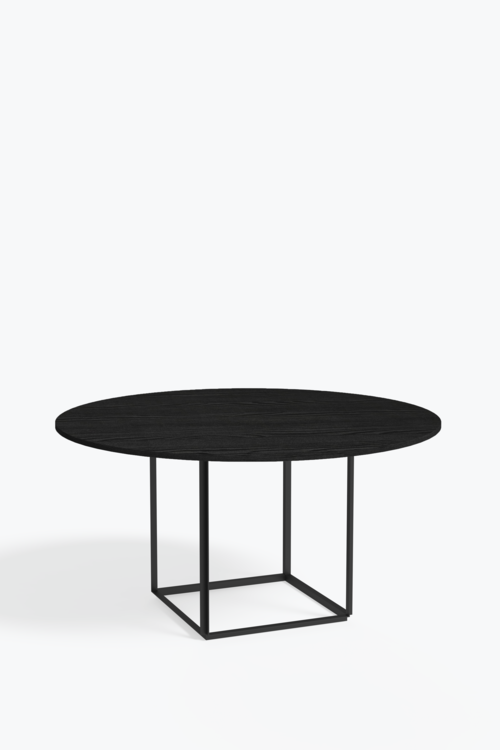 Florence Dining Table - Ø 145 cm, Iron Black Frame w. Stained Ash ...