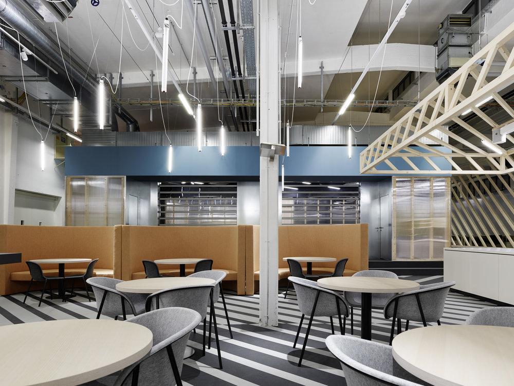 Bosch Automotive Steering - Neue Arbeitswelt 205, garage office, bistro, lightning, rubber floor, interior architecture, design