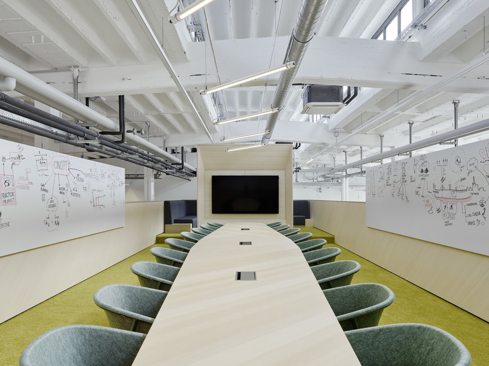 Bosch Automotive Steering - Neue Arbeitswelt 205, green office, multispace, conference table, devorm, lightning, white board, former production hall, industrial design, interior architecture