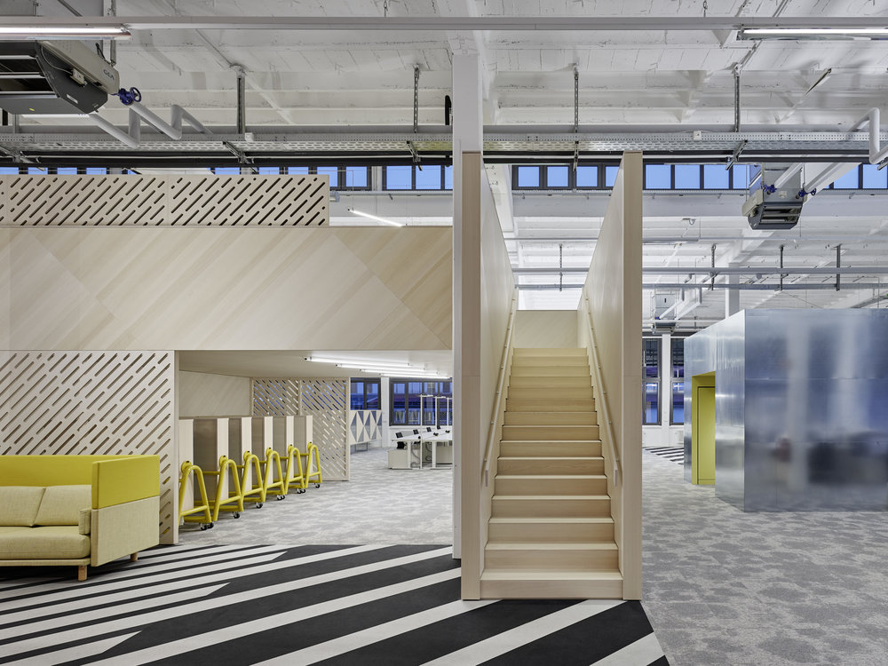 Bosch Automotive Steering - Neue Arbeitswelt 205, green office, stairs, second level space, zinc-covered, rubber floor, carpet, interior architecture, industrial design