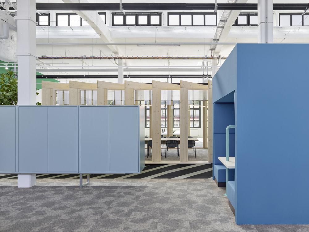 Bosch Automotive Steering - Neue Arbeitswelt 205, green office, alcove, interior architecture, design, blue