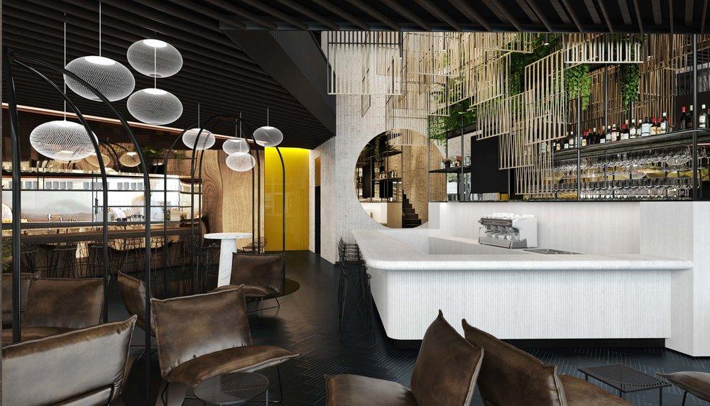 KÖ 45, restaurant, bar, hospitality, interior architecture, interiordesign, Innenarchitektur, conecpt, Stuttgart, Studio Alexander Fehre