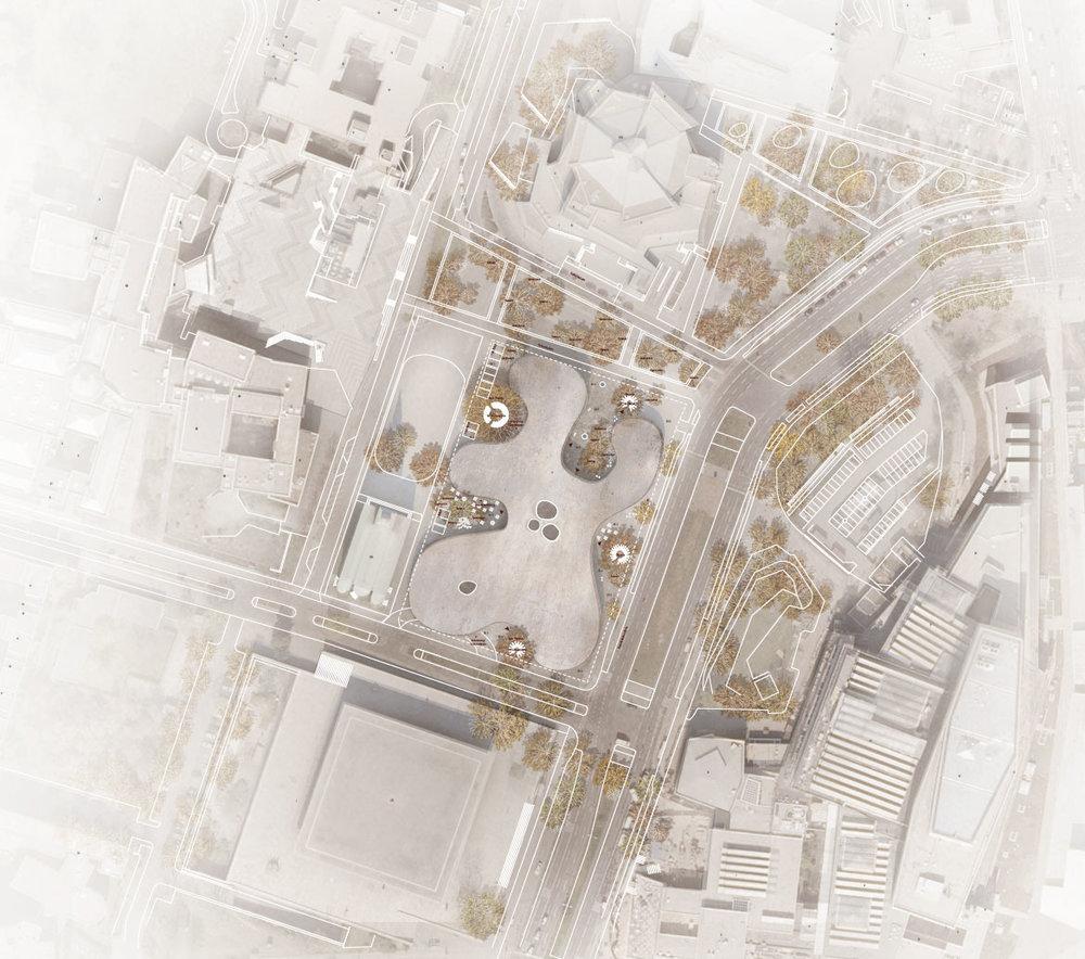 Siteplan af Museum des 20. Jahrhunderts, Berlin - Lundgaard &Tranberg Arkitekter