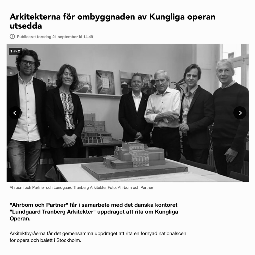 """""""A new opera in the opera"""" Lundgaard &Tranberg Architects have been commissioned to collaborate with Ahrbom och Partner on the new work of the Royal Swedish Opera in Stockholm. Lundgaard & Tranberg Arkitekter har vundet konkurrencen i forbindelse medKungliga Operan i Stockholm. September 2017"""