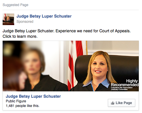 A Facebook ad promoting page likes for the Judge's Facebook page.  These appeared in targeted Facebook user's timelines and in their sidebars.