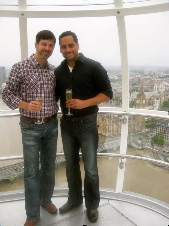 "#throwbackthursday   #4 - Aug 5, 2009: A shot after Timproposed on The London Eye! Blew my mind! These glass egg-shaped capsules hold 30 people at once and he surprised me by renting out a whole one just for us (which takes 30 minutes to go around)! Woman who brought us on board, pulled out strawberry chocolate truffles & champagne. Got to the top overlooking Big Ben (there on the right) I said, ""you're nuts! this is so romantic"" - he said, ""It is romantic. and I want to keep doing romantic things. In fact I want to take care of you for the rest of my life and..."" then I knew and I started shaking! He started crying and went into the most beautiful speech and proposed.   #bestproposalever  #rememberingtim"