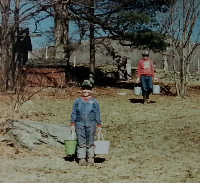 Me at young age helping gather the Sap