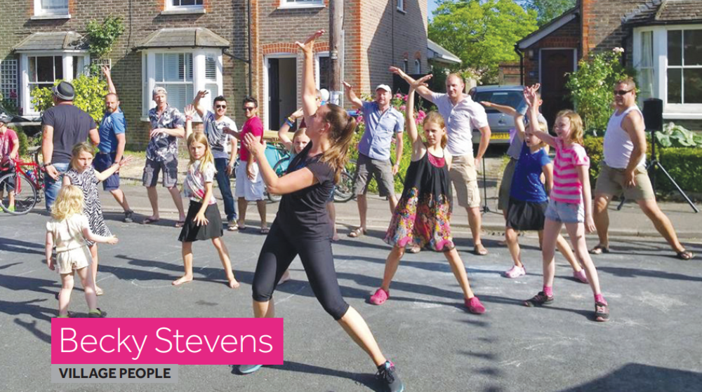 Photo of Becky Stevens, Lindfield, teaching a dance class in the street.