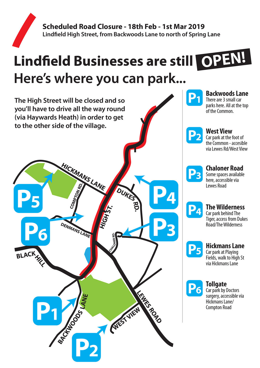 Where to park when shopping in Lindfield, during the works…