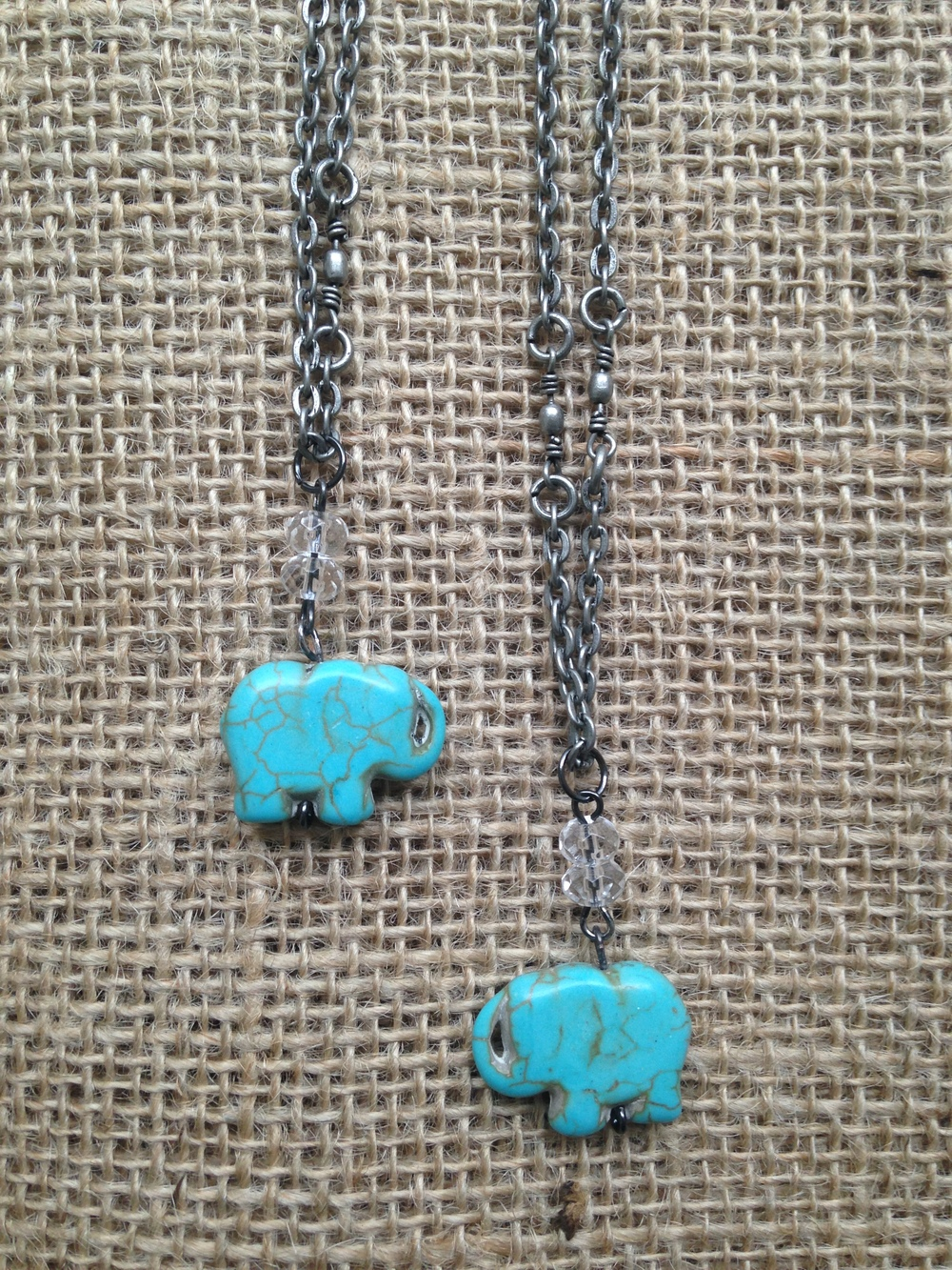Custom order of two elephant necklaces to give to their daughters for Christmas.