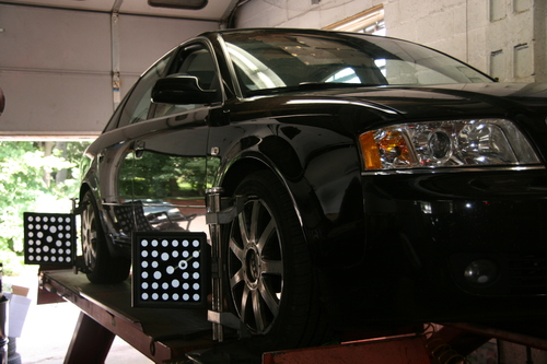 Audi set up for an alignment on our John Bean Alignment machine.