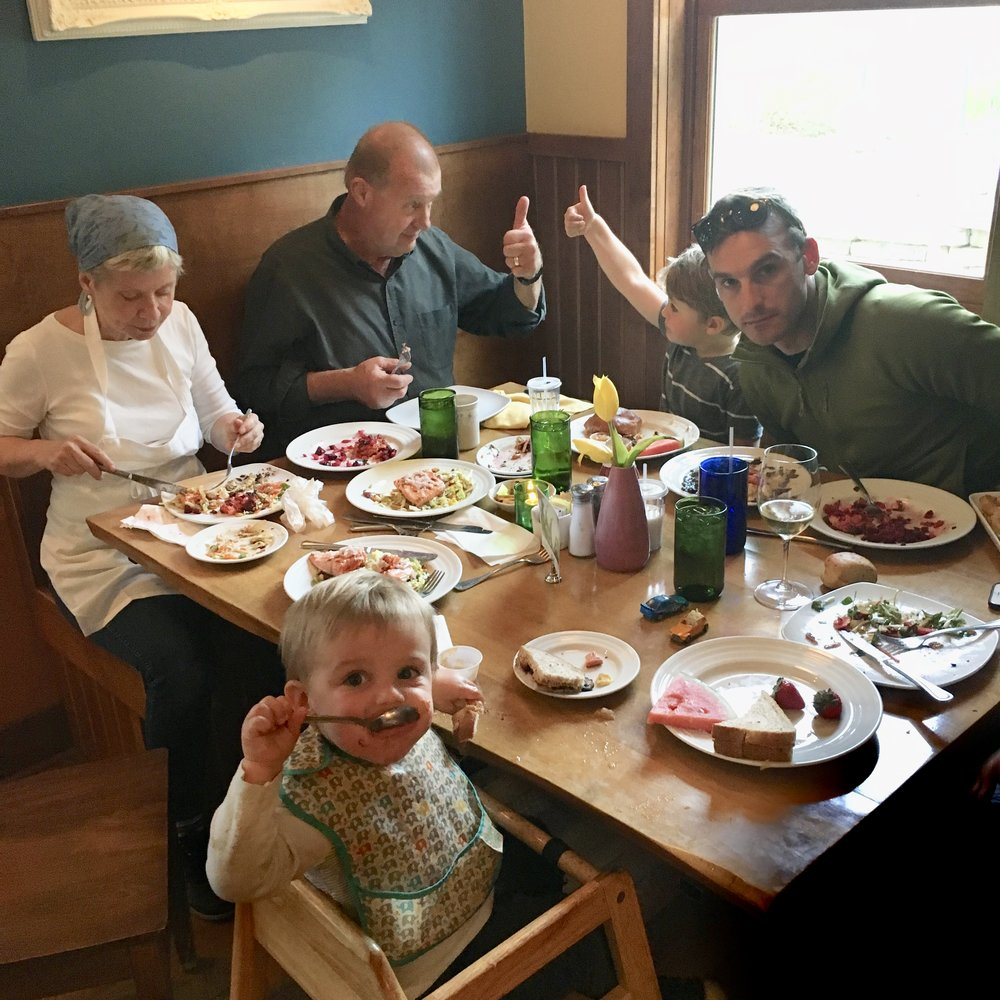 Our final family taste testing.  Dick and Arlo give our choices two thumbs up!