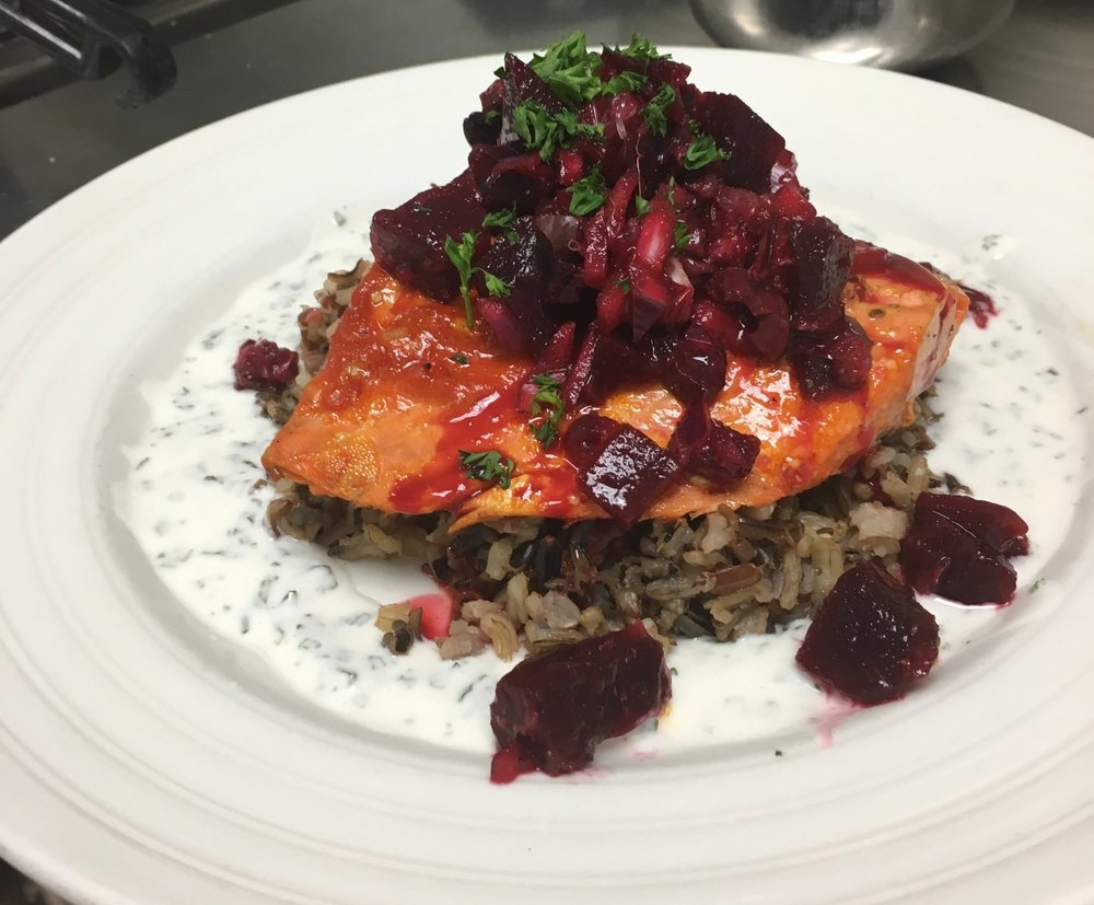 Salmon with beet salsa and mint cream.