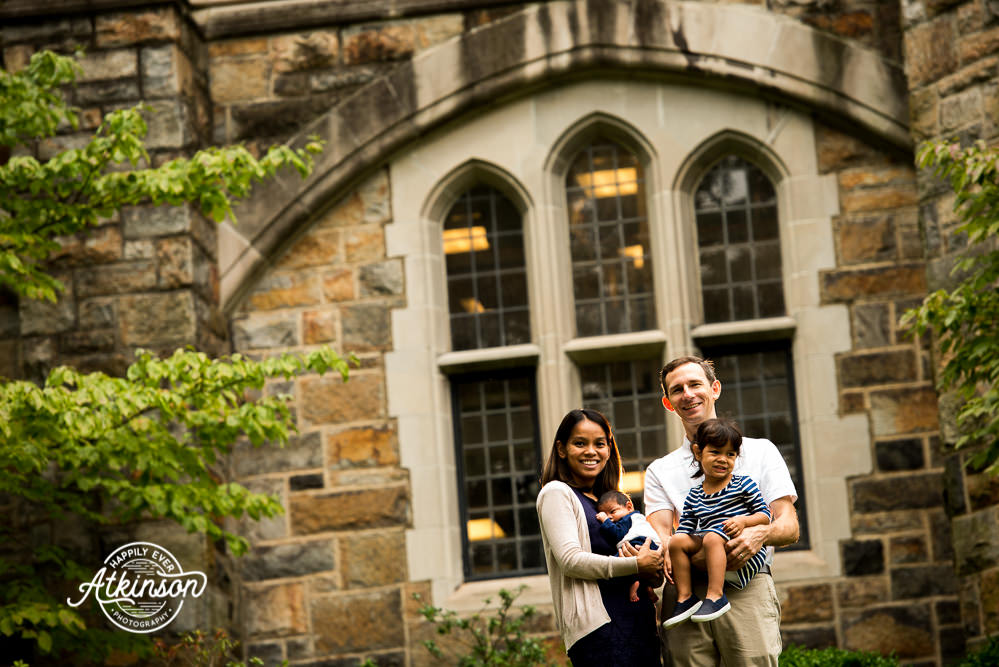 family portrait on college campus