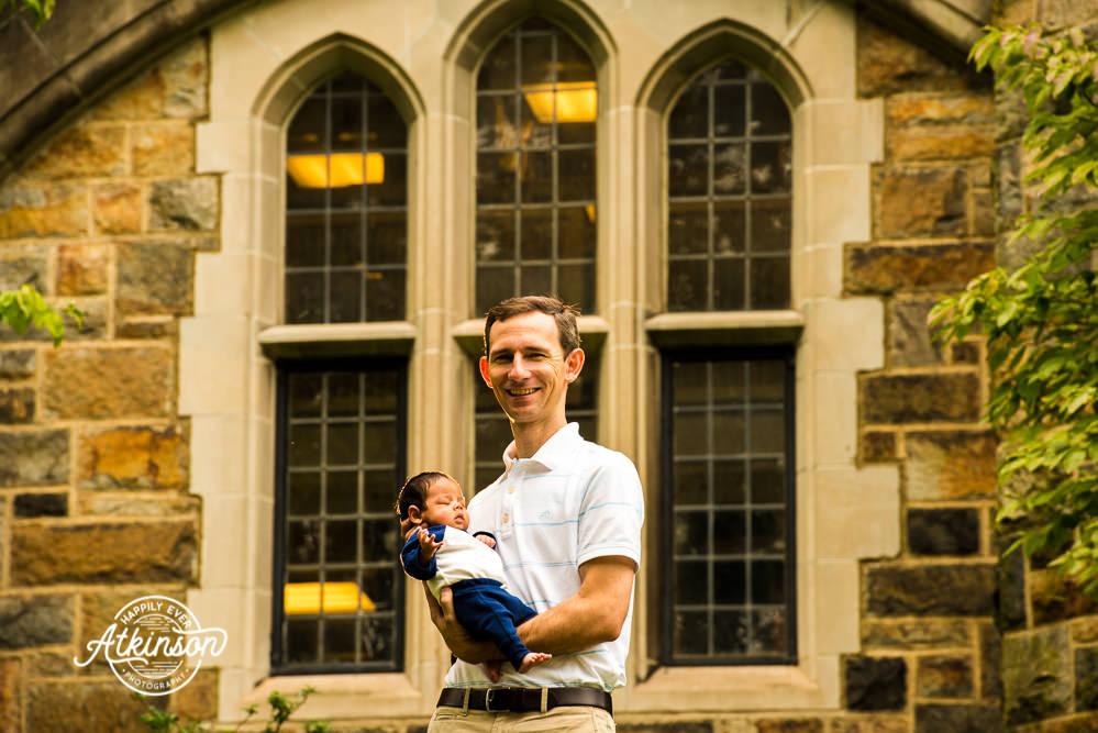 father and newborn sun