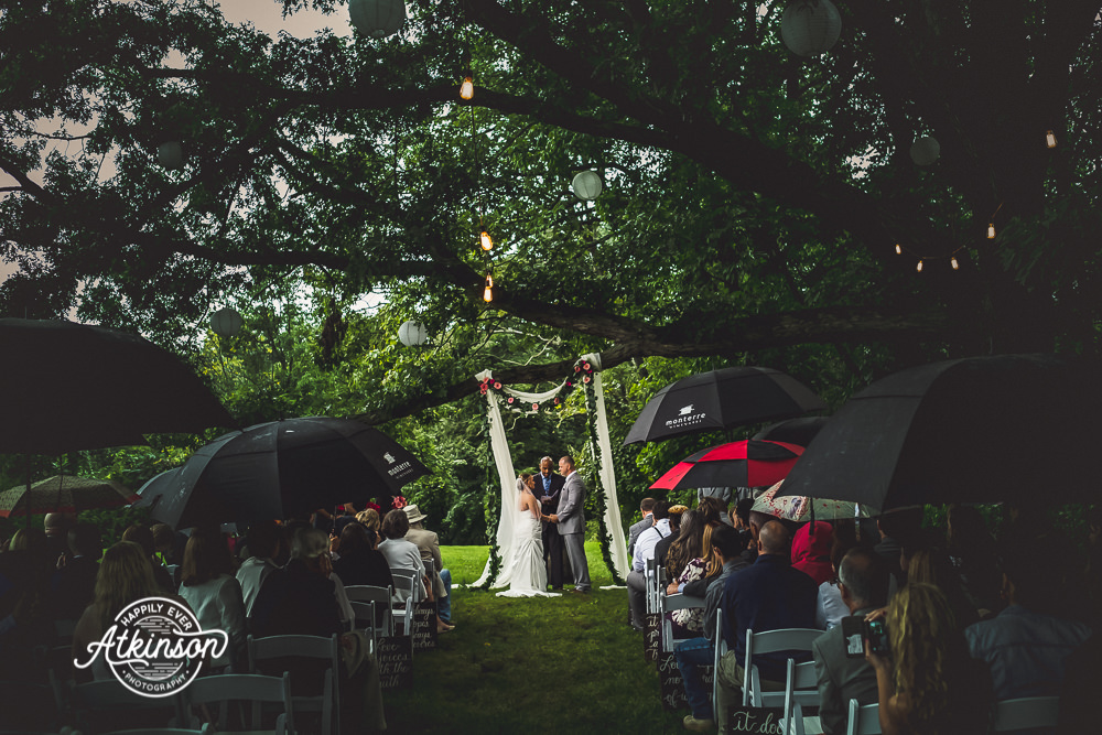 Wedding Ceremony in the Rain with Umbrellas