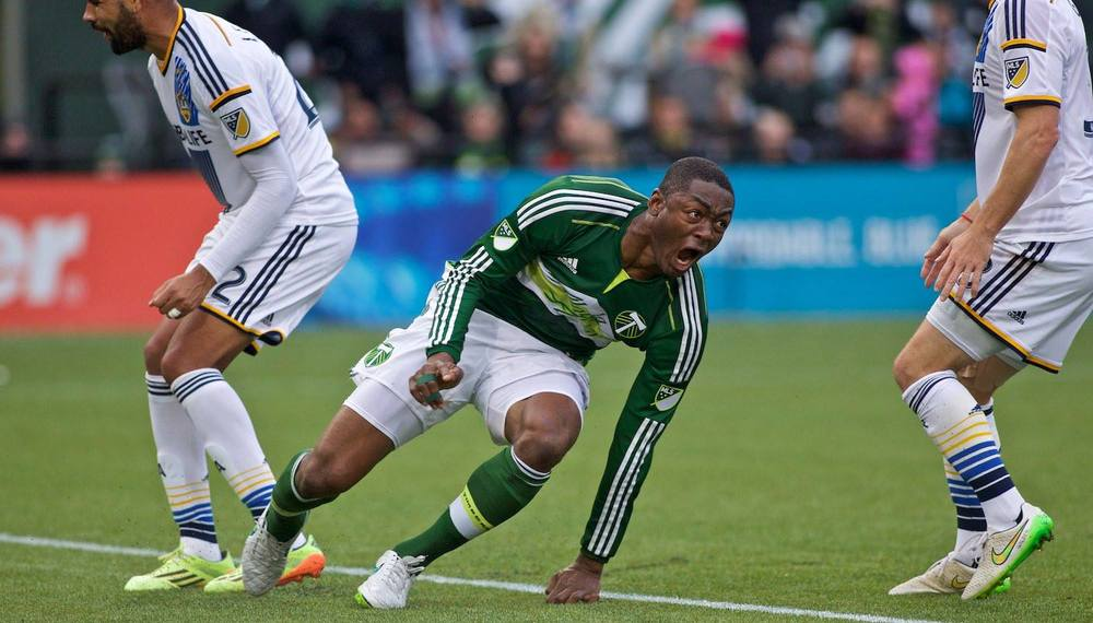 Portland Timbers forward Fanendo Adi (9) reacts after scoring his second goal at Providence Park. Photo: Craig Mitchelldyer-Portland Timbers