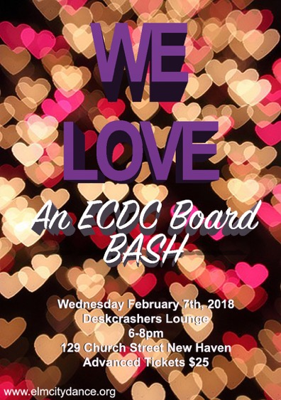 Join ECDC for a pre-Valentine's Day bash! Learn more about the dance company and its upcoming plans for 2018. See videos of past performances, meet some of the dancers, and find out how you can help the organization in the future. Drinks, food, and fun will abound at this February 7 event!   ADVANCED TICKETS $25 |  HERE    Door $30