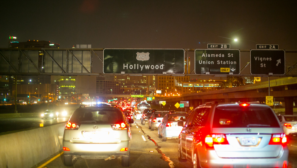 Hollywood, it was freaking bad traffic on the way back.