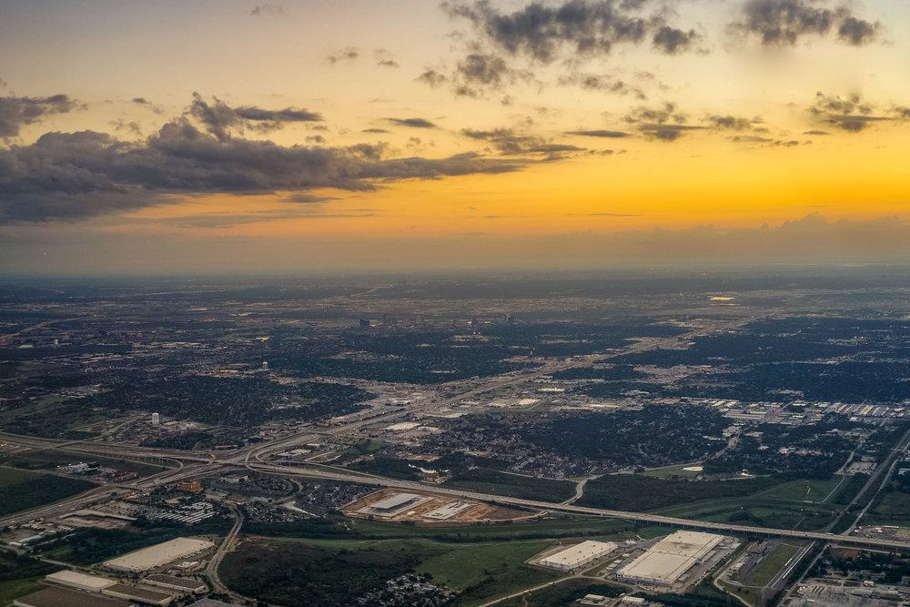 DFW during sunrise.