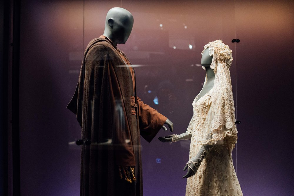 These costumes were used in the wedding of Anakin Skywalker and Padmé Amidala in Star Wars: Episode II - Attack of the Clones (2002). I was amazed with all the detail and history of these customes even I was not a big fan of Star Wars.