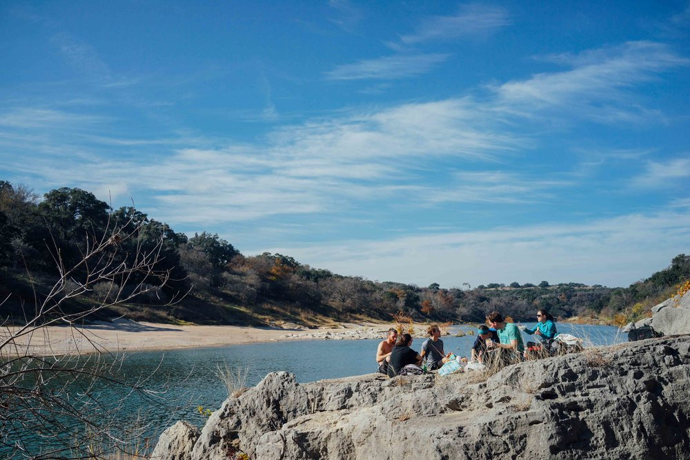 We found a spot next to Pedernales River.