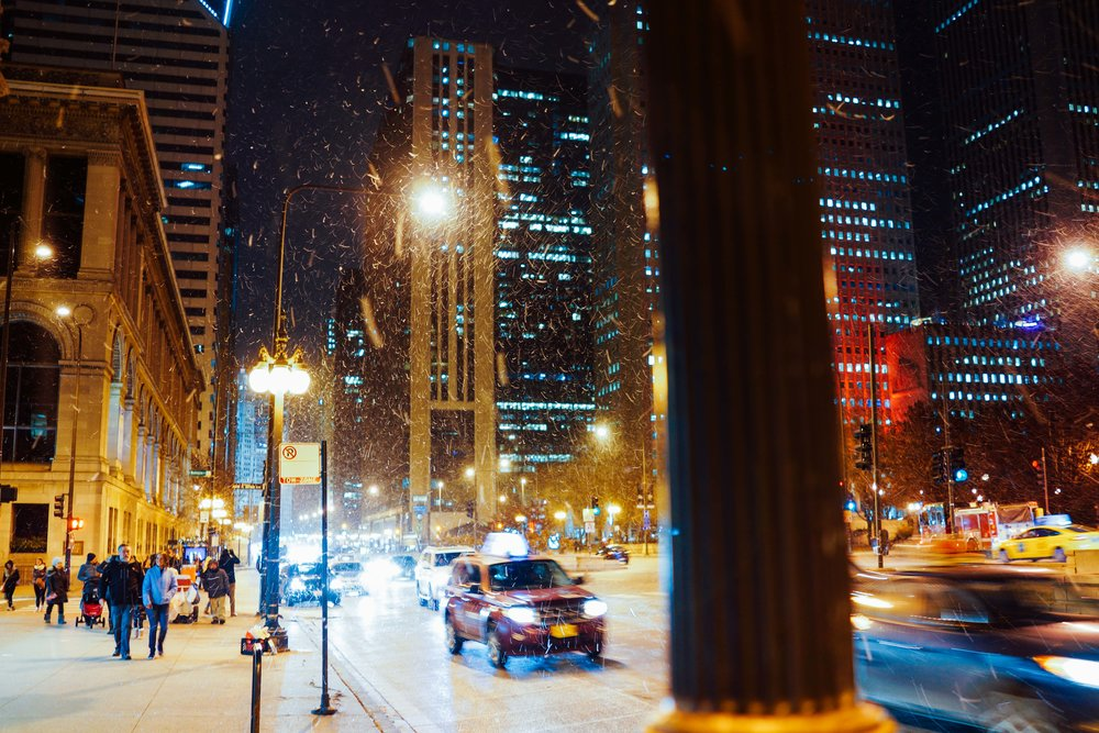 Chicago was snowing.