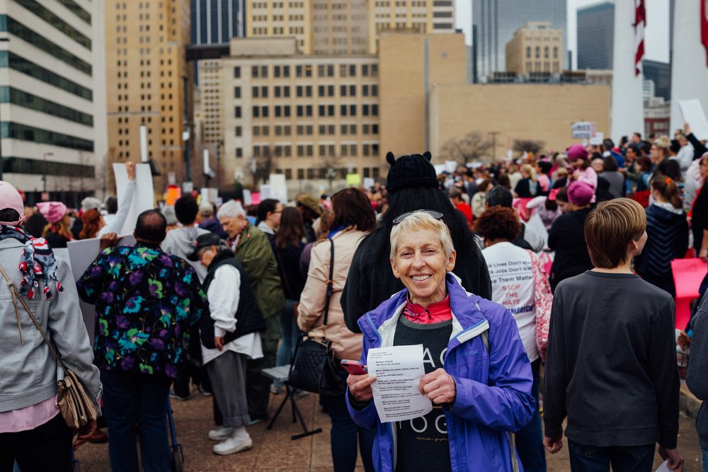 Paula at the Dallas Women's March.