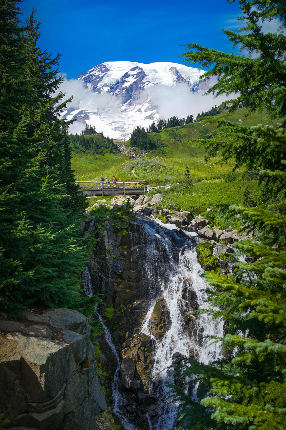 Myrtle Fall with Mount Rainier in the background