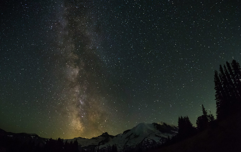 Milkyway over Mt Rainier at  Sunrise Visitor Center