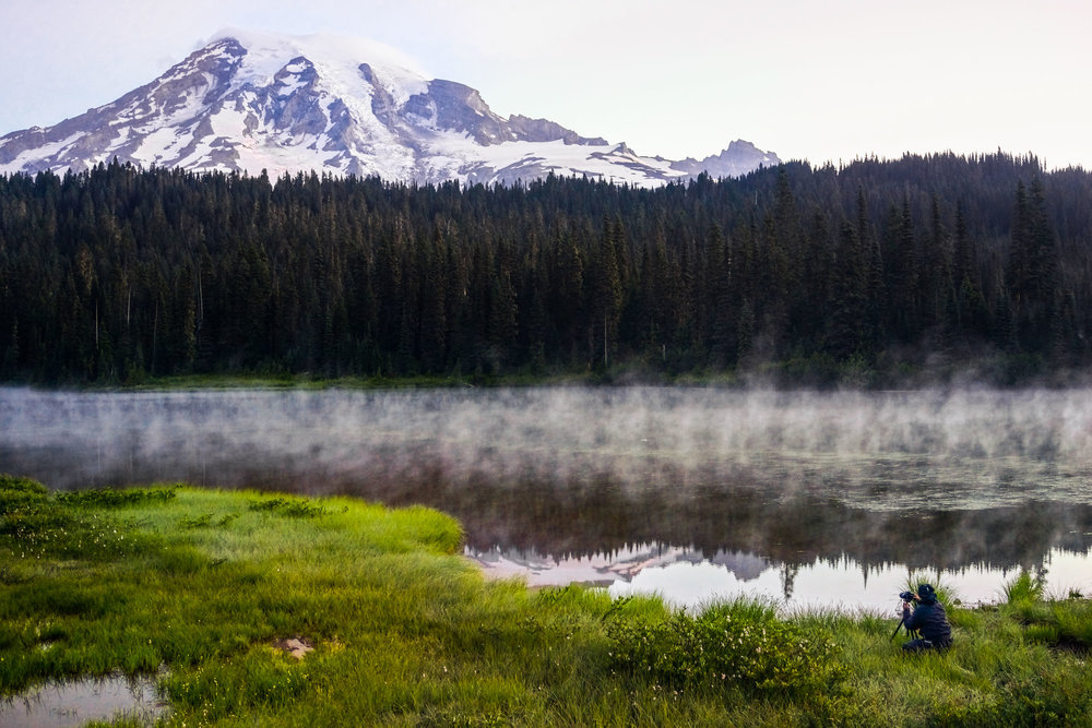 Kittithuch  is taking pictures of Mt Rainier at  Reflection Lakes . Check out his amazing works on  Flickr !