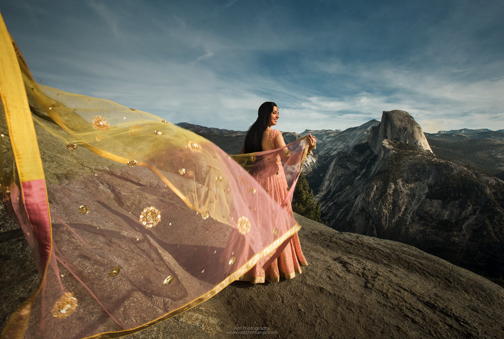 Bridal at Yosemite This picture is my number one favorite picture of 2018. It's like a dream come true to photograph this beautiful bride and Half Dome in the same picture.  Early this year, a bride-to-be contacted me if I could photograph her picture in a national park. I know I can do but I just have no proof. Therefore, I created one. I texted Mona about this project. Now I have a proof. I can't be more happy for the pictures.