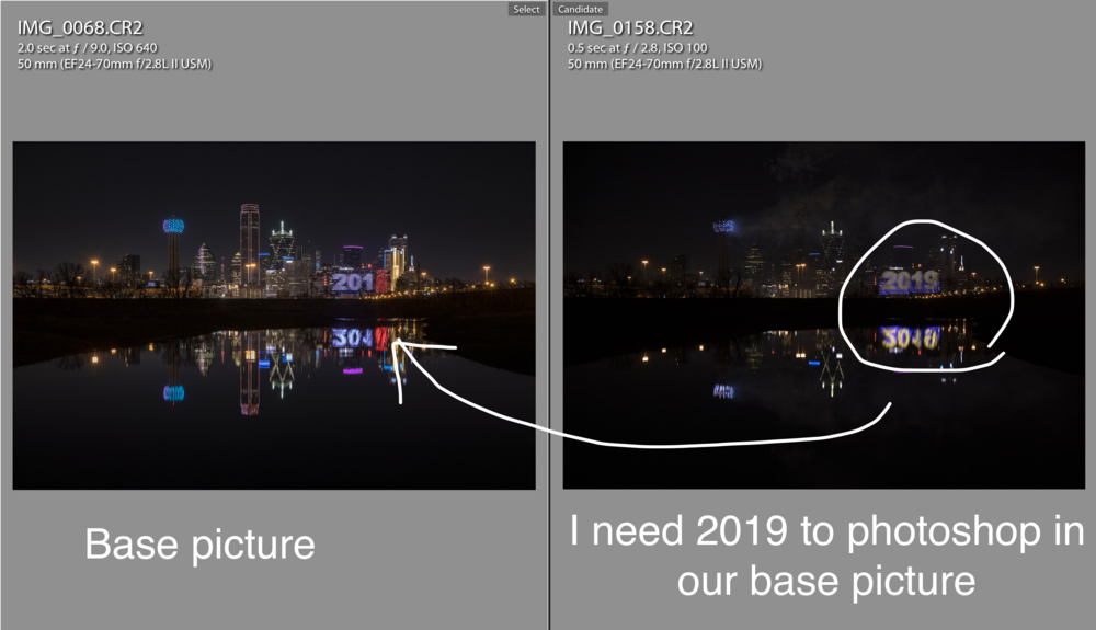 Photograph a base picture and a picture with 2019 light on Omni hotel.