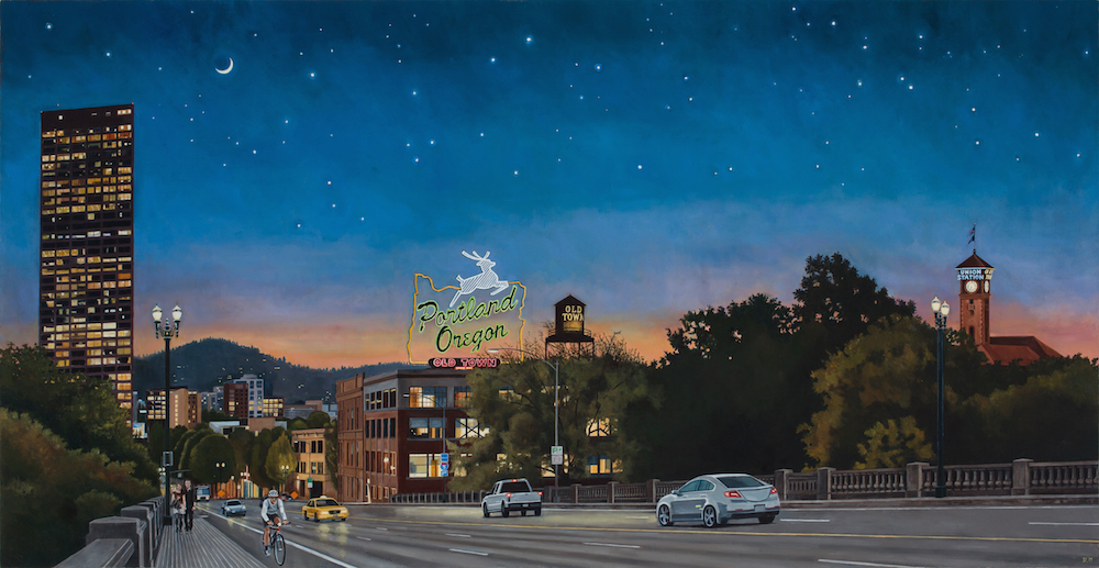Night Falling Over Portland, Limited Edition Print, 15.5x30 inches.