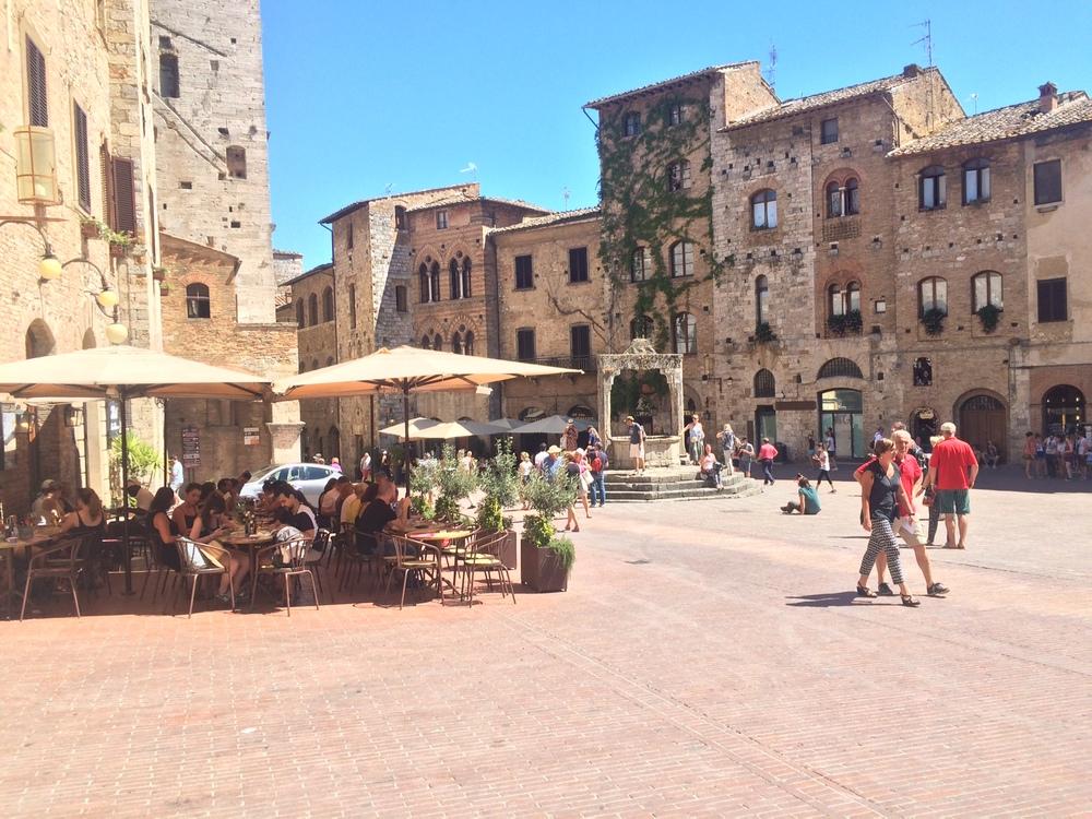 A San Gimignano piazza.